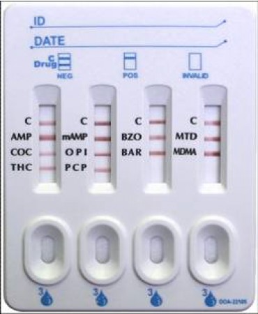 10 Panel Pipette Drug Screen for AMP, COC, THC, MAMP, OPI2000, PCP, BZO, BAR, MTD, MDMA - Box of 25