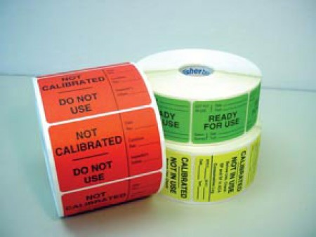 """Fisherbrand™ ACA Labels, yellow, """"Calibrate-Not In Use"""""""