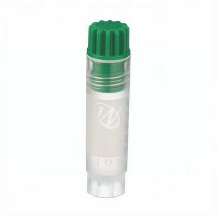 Cryogenic Vial, Internal, With Writing Patch, 2 mL, 12 x 50 mm, Green Cap, Sterile - Case of 500