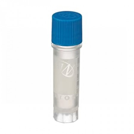 Cryogenic Vial, Internal, With Writing Patch, 2 mL, 12 x 50 mm, Blue Cap, Sterile, Case of 500