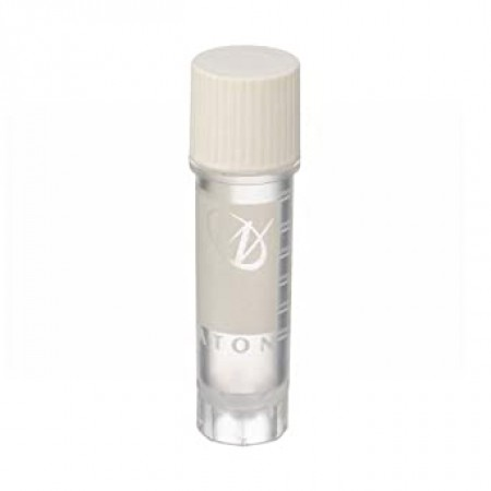 Cryogenic Vial, Internal, With Writing Patch, 2 mL, 12 x 50 mm, White Cap, Sterile - Case of 500