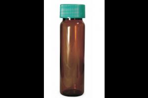 20mL Qorpak Amber Borosilicate Sample Vials: With Thermoset F217 Screw Cap and PTFE Liner - Case of 144