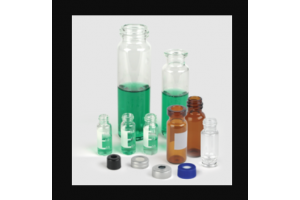 Verex™ Assembled Vial Kit, 13mm, 4mL Screw top, Amber 51 w/ Patch + Screw 13-425, PTFE/Silicone Cap (caps on vials)