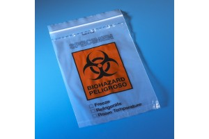 "Biohazard Specimen Transport Bag, 6""x9"", Ziplock with Score Line and Document Pouch"