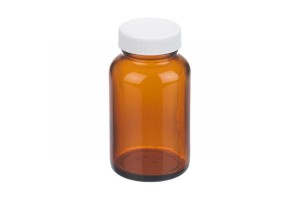 Fisherbrand™ Amber Wide Mouth Packer Glass Bottles with White Polypropylene Pulp/Vinyl Cap, 120mL, Case of 24
