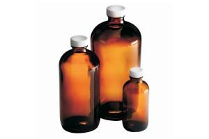 Amber Boston Round Bottles with PTFE Faced Foamed Polyethylene-Lined White Polypropylene Cap, 125 mL (4.2 oz.), Case of 24