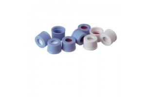 Assembled Caps with Septa, Light Blue, 10-425, Blue PTFE/White Silicone, Pre-Slit