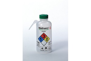 Thermo Scientific™ Nalgene™ Vented Unitary Right-to-Know LDPE Wash Bottles 500 mL, Safety Labeled, Methanol