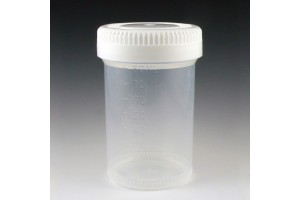 Container - Tite-Rite Container, 90mL (3oz), PP, 48mm opening, Graduated with separate White Screw Cap