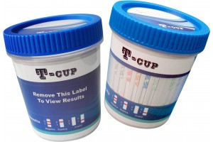 T-Cup 10 Panel Drug Screen (BAR, BUP, BZO, COC, mAMP, MTD, OPI, OXY, TCA, THC) + 3 Adulterants (CLIA Waived), Box of 25.