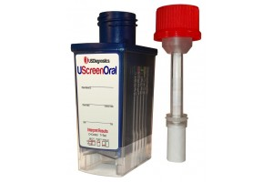 UScreen 6 Panel Oral Fluids Drug Screen Cube + Alcohol for THC, COC, OPI, AMP, MAMP, PCP, +ALCO. (Forensic Use Only)
