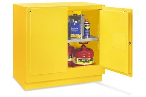 "Undercounter Flammable Storage Cabinet - Manual Doors, Yellow, 22 Gallon, 35"" W x 22"" D x 35"" H"