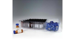 Amber 12 x 32 Vial with Patch, Cap, and Septa, 2 mL, Cut PTFE/Silicone - 100/Pack