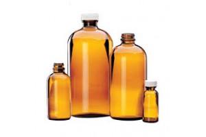 Amber Boston Round Bottles with PE Cone-Lined Black Phenolic Cap, 30mL (1 oz.), Case of 48