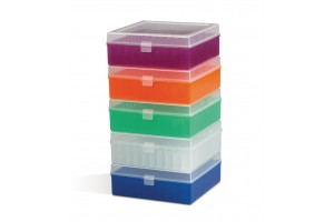 100-Place Polypropylene Freezer Storage Boxes, Bel-Art, Assorted (one each Natural, Blue, Green, Orange, and Purple), Pack of 5
