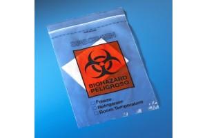 "Biohazard Specimen Transport Bag, 12"" x 15"", Ziplock with Score Line and Document Pouch, Case of 500"