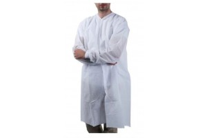 Level 2 SMS Lab Coat, White, 37 Gsm SMS Non-Woven, Size: Large, Cuff Style: Knit, Elastic, Level 2 SMS Lab coat, Non-sterile  Pack of 10