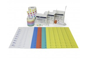 Cryogenic Storage Round Dot Labels, 0.5–1.5 mL Tubes, 9.5 Dia. mm (3/8), Assorted, 1 Roll - 5000 Total Labels