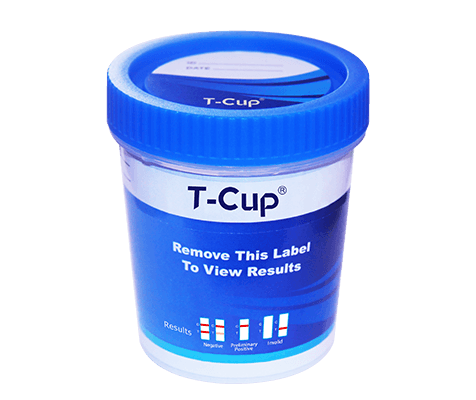 16-Panel T-Cup Compact; (AMP1000, BAR300, BUP10, BZO300, COC300, mAMP1000, MDMA500, MOP300, MTD300, OXY100, PCP25, THC50, ETG500, FTY20, TRA200, K250)  (Forensic Use Only), Box of 25