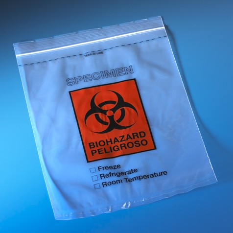 """Bag, Biohazard Specimen Transport, 8"""" x 10"""", Zip-lock with Score Line and Document Pouch Case of 1000"""