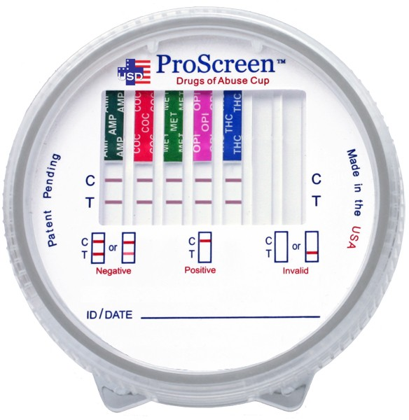 ProScreen Integrated Cup with Built-in Adulterants 10 Panel Drug Screen for THC, COC, OPI2000, MET, AMP, PCP, BZO, BAR, OXY, MDMA, CLIA Waived